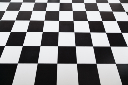 Checkered stile pavimento di piastrelle con messa a fuoco selettiva