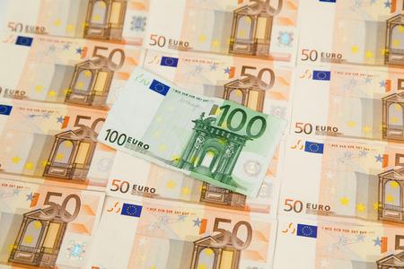 one hundred euro banknote: One hundred euro banknote on money background Stock Photo