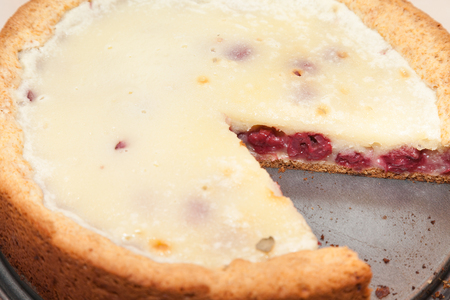 focus stacking: Closeup of cut cherry pie with selective focus