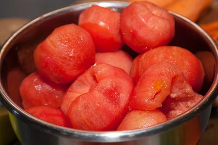 Bunch of peeled fresh tomatoes