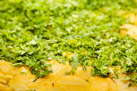 creamed: Closeup of baked potatoes with green parsley and selective focus