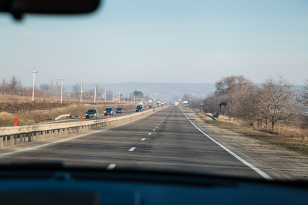 guardrails: Driving inside the car on a highway