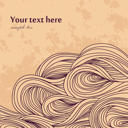 waves pattern: Vector abstract invitation card  Hand-drawn waves pattern  Background