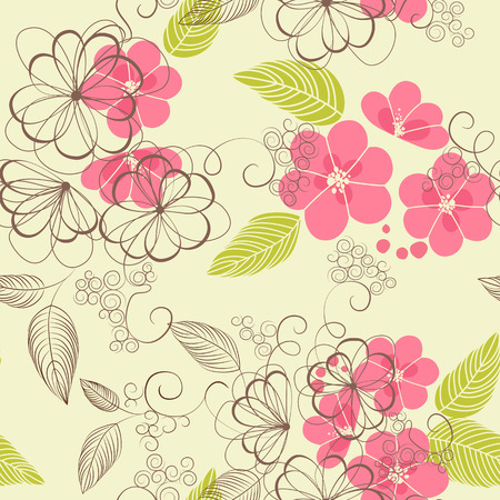 fabric patterns: Floral seamless pattern with flowers  Vector blooming doodle floral texture  Illustration
