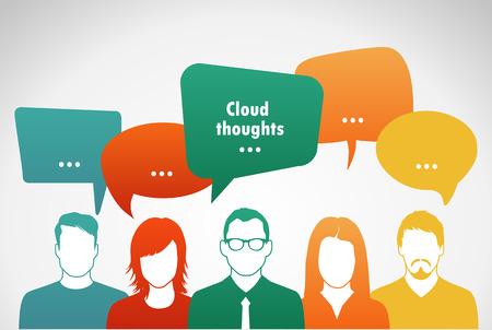 Sprechen Sie Menschen mit Wolken Gedanken Vektor-Illustration Vektorgrafik