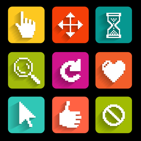 Pixel cursors icons  Design  Vector