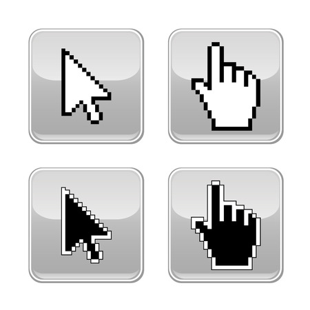 Pixel cursors icons  hand and arrow  Vector illustration  Vector