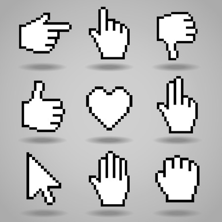poorly: Pixel cursors icons  hand, arrow and heart  Vector illustration  Illustration