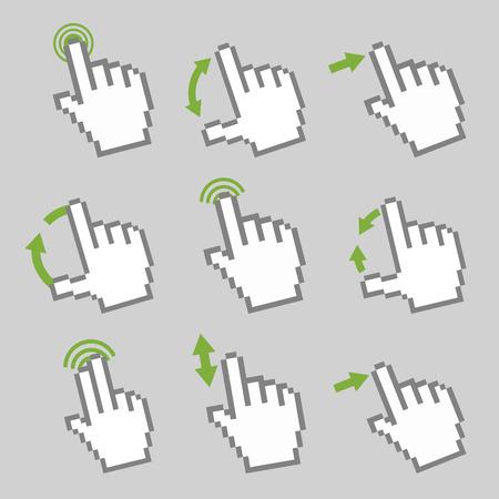 Vector collectie van touch screen gebaar gids met elementaire gebaren om te werken met moderne gadgets