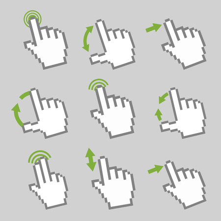 multi touch: Vector collection of touch screen gesture  Guide with basic gestures to work with modern gadgets Illustration