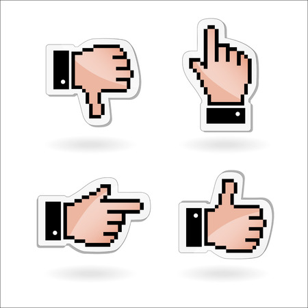 Pixel cursors icons  hand, arrow and heart  Vector illustration  Vector