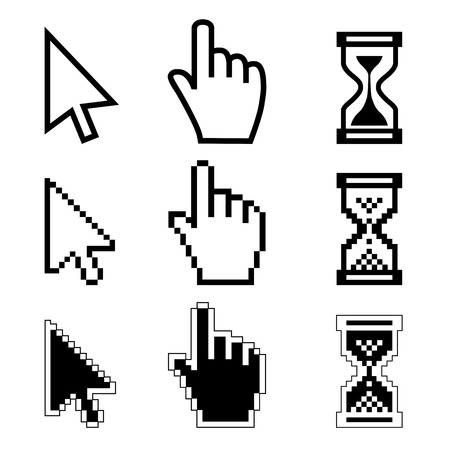 Vector illustration hand cursor hourglass  Black and white illustration