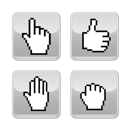mobile application: Pixel hand icons  Vector illustration  Mobile application design  Illustration