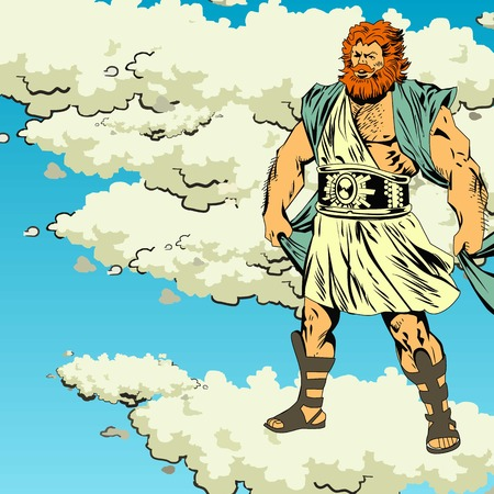 Mighty Zeus in thunderclouds  Comics  Illustration  Vector Vector