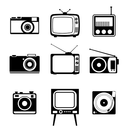 video cassette tape: Electronic devices   Icons set on white background