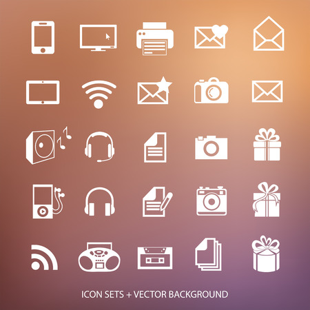 Universal web icons set  Vector blurred background  Ideas for your business Vector