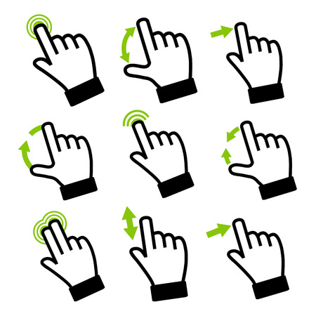 Touch Gestures for touch devices  Modern flat icons vector collection  Vector