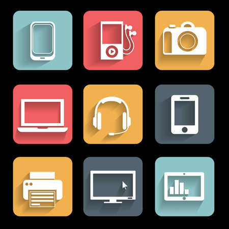 electronic devices: Electronic devices   Icons set  Interface mobile applications Illustration