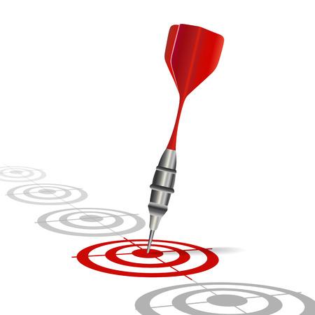 dart on target: Achieving goal   Vector image over white background  Illustration