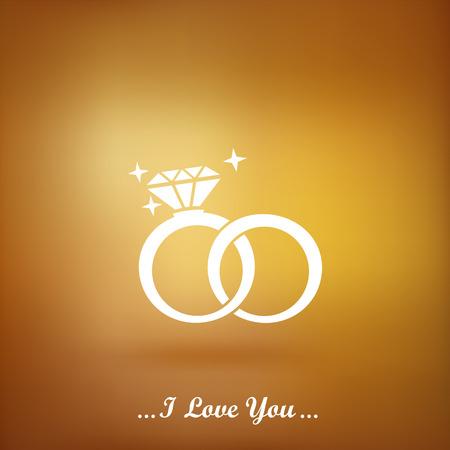 anillo de compromiso: Anillos de bodas del icono del vector sobre un fondo de oro