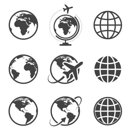 airplane world: Earth icons set on white background Illustration