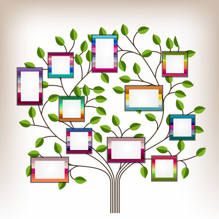 Memories tree with photo frames   Insert your photos into frames Vector