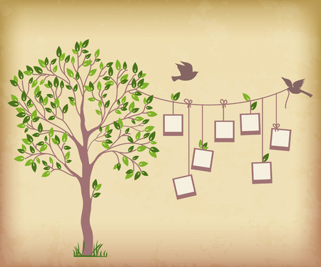 Erinnerungen Baum mit Bilderrahmen Legen Sie Ihre Fotos in frames Standard-Bild - 28910857
