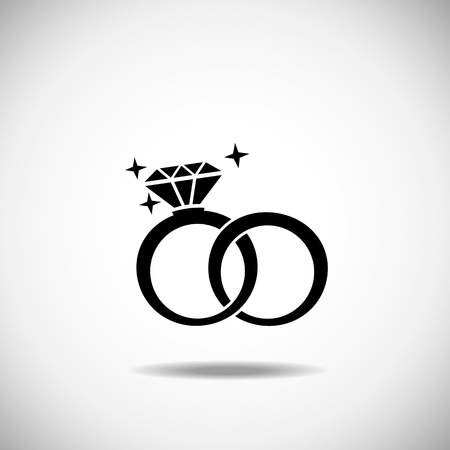 diamond ring: Wedding rings icon on a white background