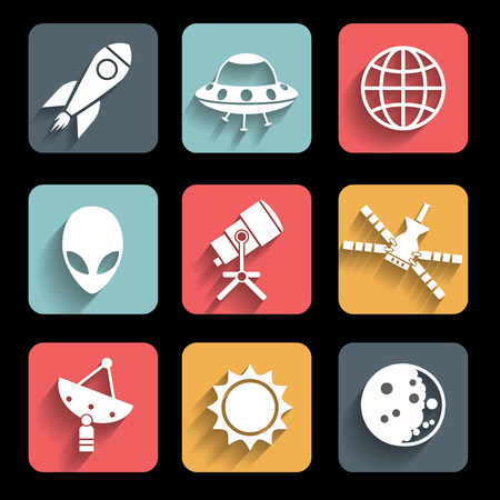 Outer space and air transport icons silhouettes