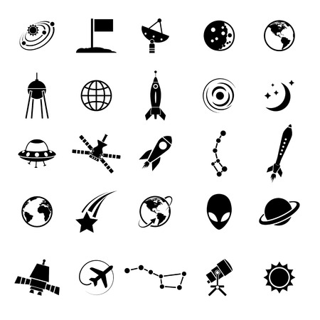 astronautics: Outer space and air transport icons silhouettes