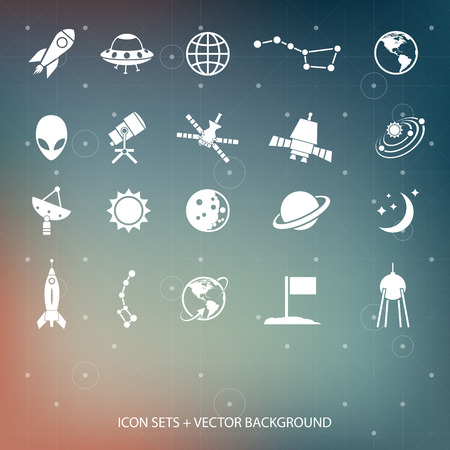 Outer space and air transport icons silhouettes  Vector