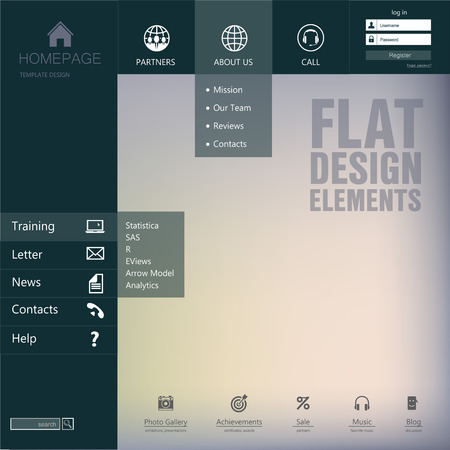 blog design: Elements design  of the menu for a website  Homepage  Gui