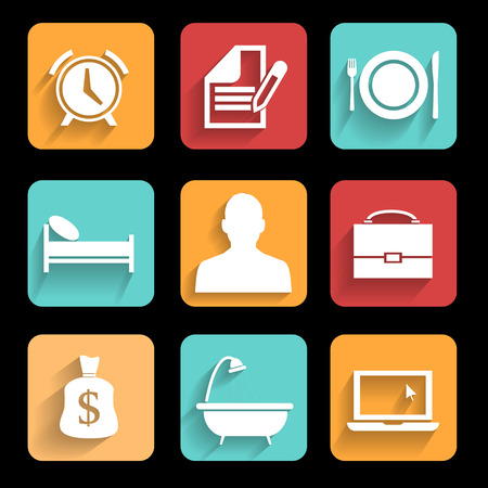cronograma: Una rutina de un hombre de negocios de negocios moderna que se puede utilizar para el diagrama icono de plantilla Vectores