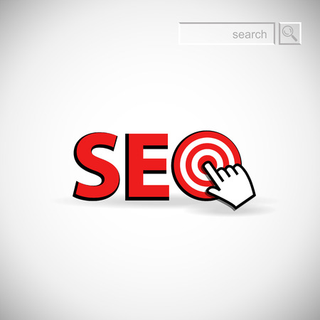 achieving: Achieving goal  SEO   Vector image over white background  Illustration
