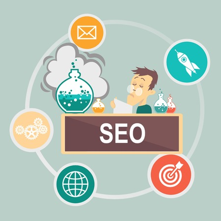 consultancy: SEO and Infographic  Vector social media concept