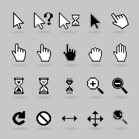 mouse cursor: Pixel and smooth vector cursors icons  Illustration