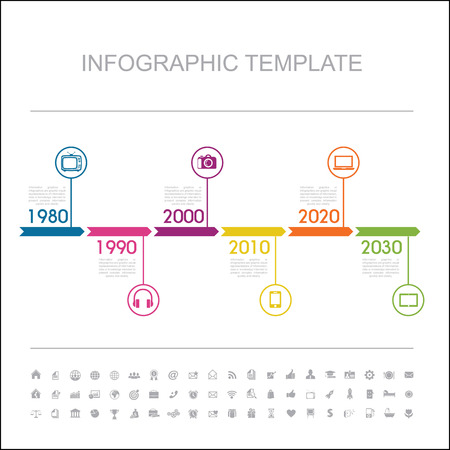 Timeline Infographic with diagrams   Vector