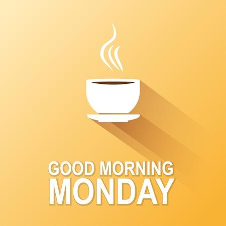 本文グッド モーニング月曜日、黄色の背景  イラスト・ベクター素材
