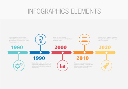 Timeline Infographic with diagrams  With set of Icons Vector