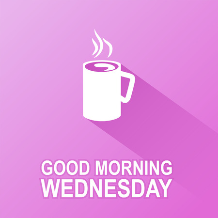 Text good morning Wednesday on a purple background Vector