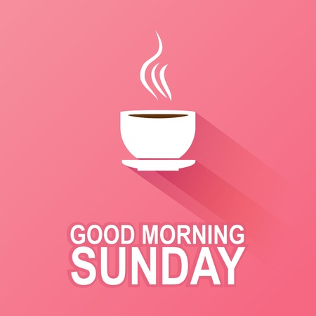 Text good morning Sunday on a pink background