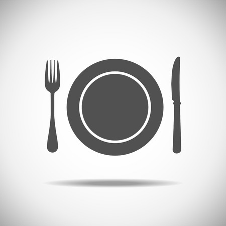 place setting: Fork, plate and knife illustration