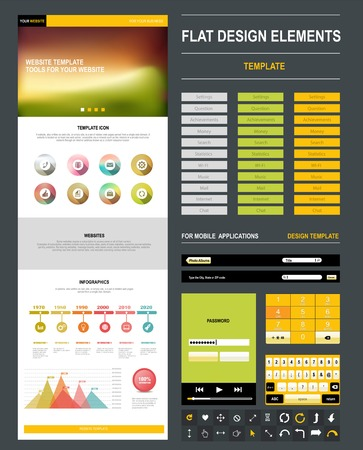 Collection of various resources tools for web and mobile design Vector