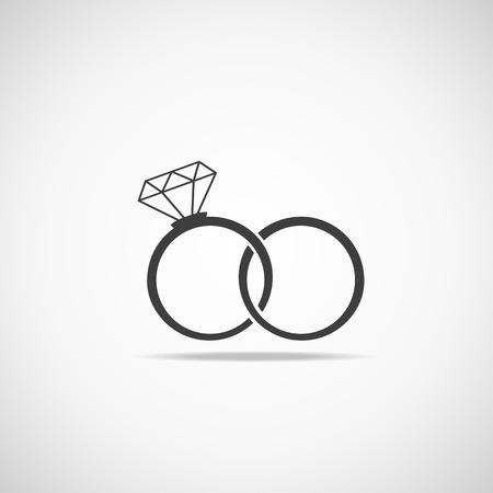 fiance: Wedding rings vector icon  Wedding invitation  Jewelry Illustration