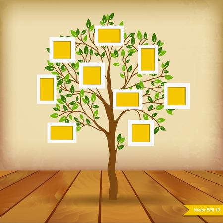 El diseño del árbol de familia, insertar tus fotos en cuadros Foto de archivo - 30046939