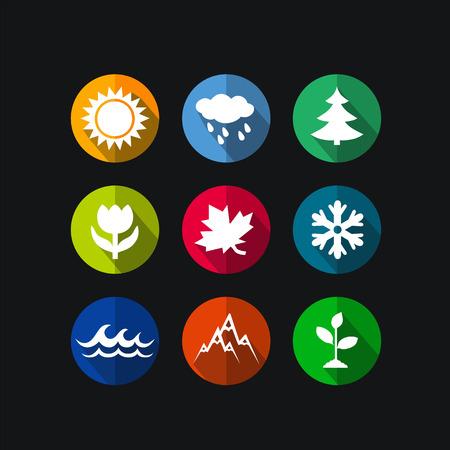 four seasons: four seasons icon symbol vector illustration  Weather