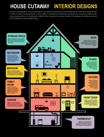 House template infographics  Modern House Interior Cutaway