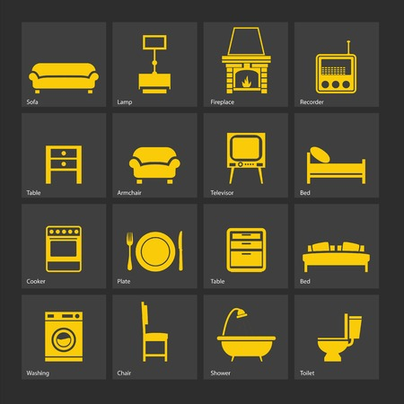 Set of furniture silhouettes  and home accessories  Illustration