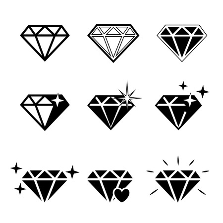 Diamond  vector icons set on white background.