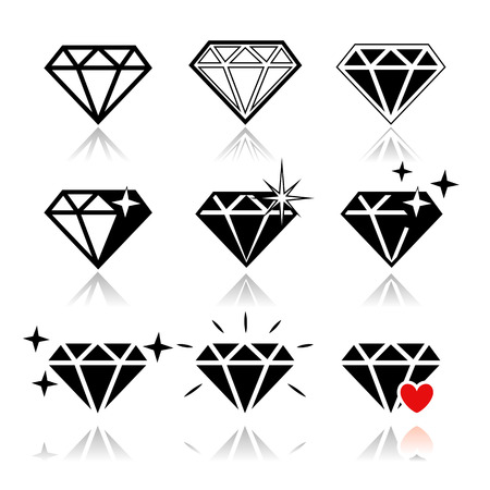 ruby: Diamond  vector icons set on white background